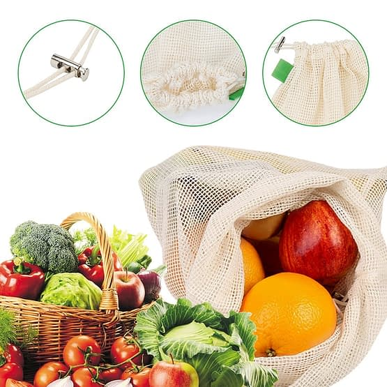 ecofworld - reusable cotton mesh bags