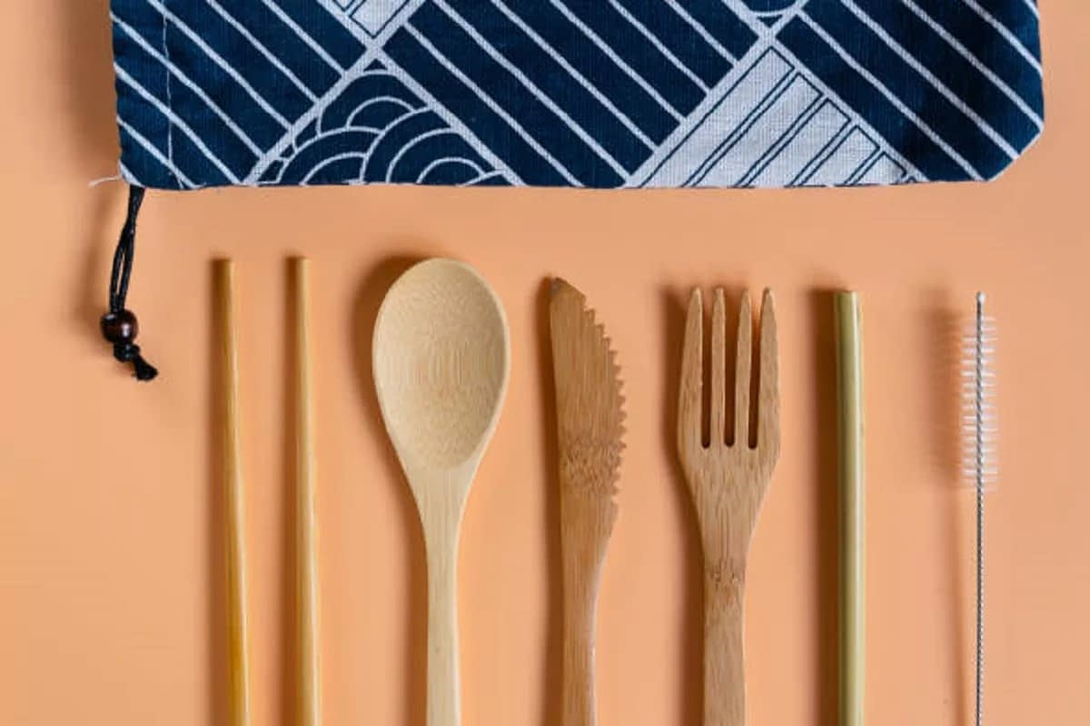 Bamboo Cutlery Set with Straw : a perfect eco