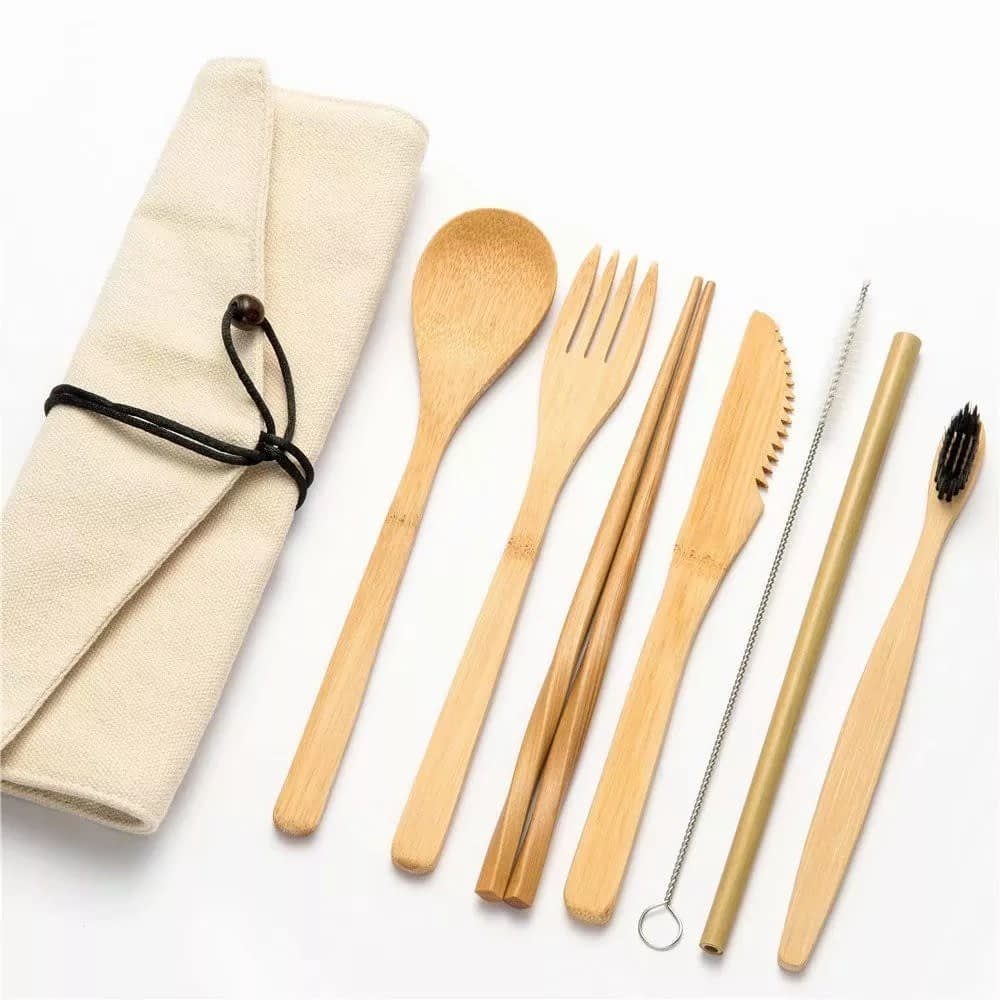 Natural Wooden Cutlery Bamboo Straw Set With Bag Reusable Travel Dinnerware