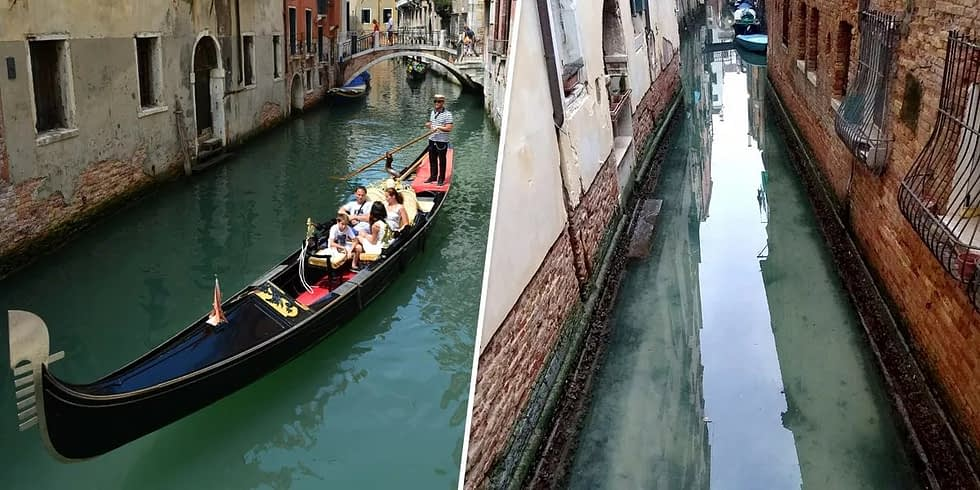 Tourists on a Venice canal in 2013 VS Water in Venice's canals appeared to run clearer in the absence of boat traffic in early March, 2020